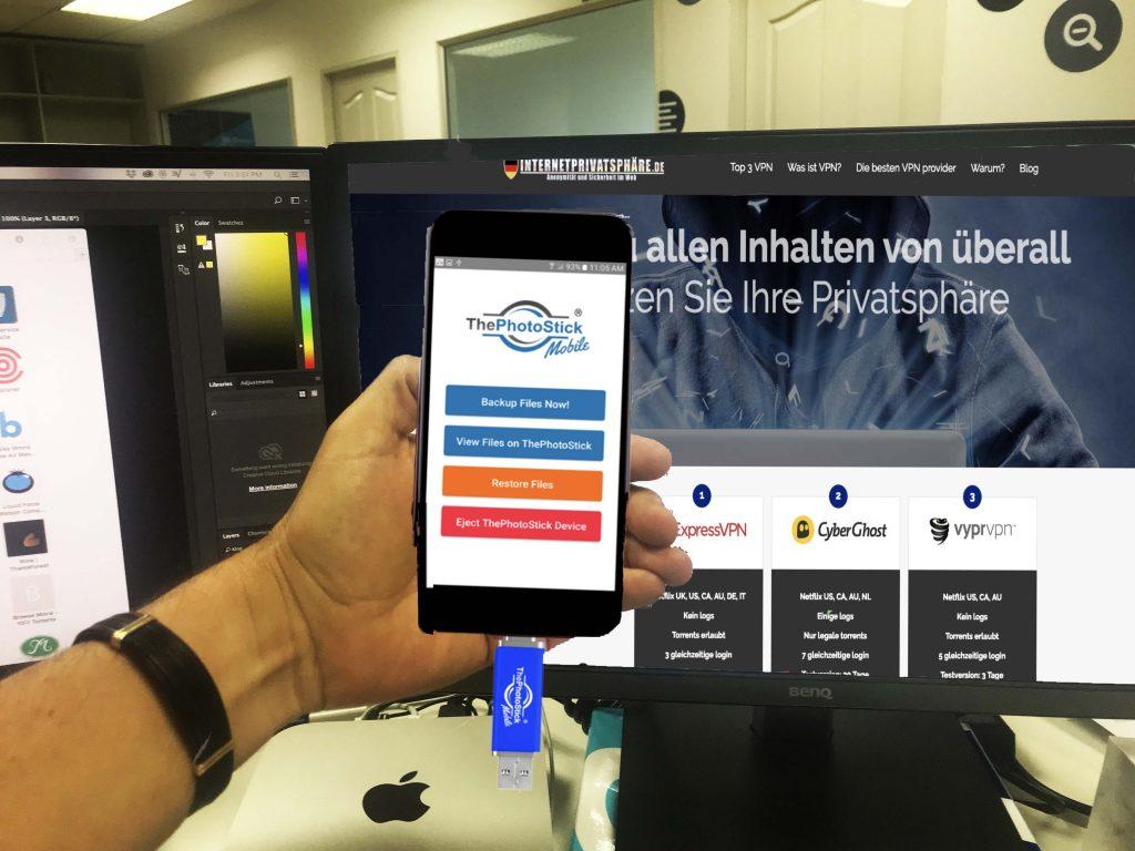 thephotostick mobile einfach einstecken und Dateien sichern